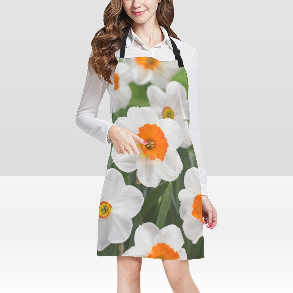 Daffodil Flower Popular Bib Apron Pockets Restaurant Home Kitchen Dining top Best Fabric and Style