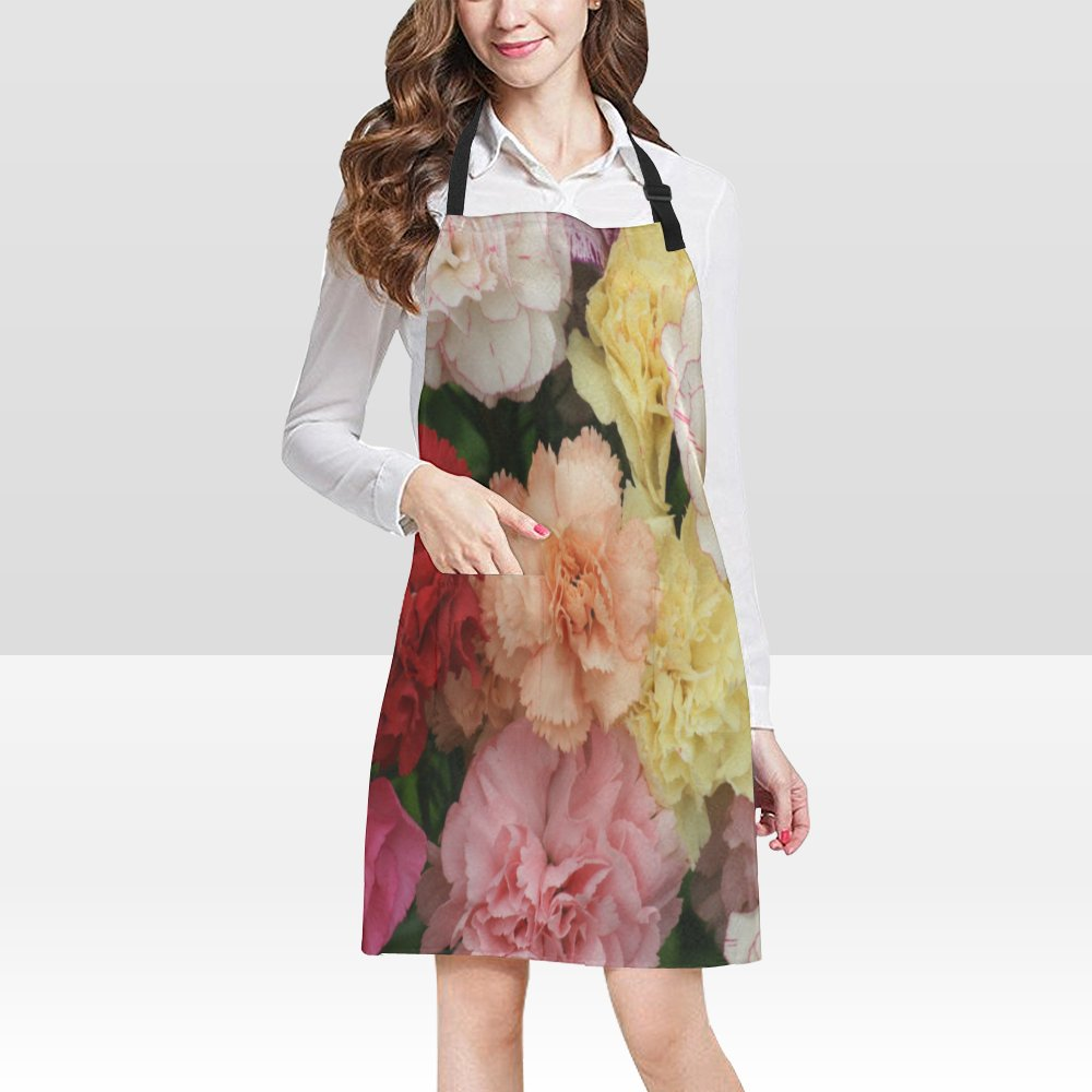 Carnations Flower Popular Bib Apron Pockets Restaurant Home Kitchen Dining top Best Fabric and Style