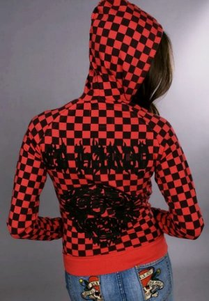 Ed Hardy Womens Checkered Hoodie, Red