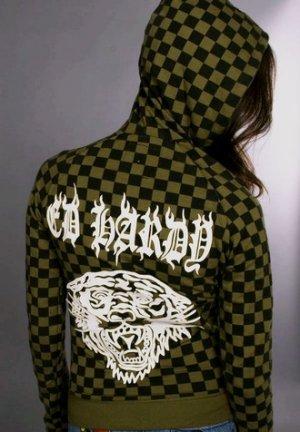 Ed hardy Womens Checkered Hoodie: Olive Green