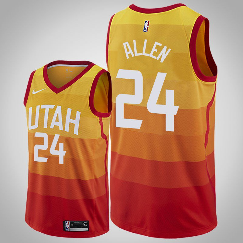 online store ee226 e5a4c Men's Utah Jazz #24 Grayson Allen Orange Swingman Jersey City Edition