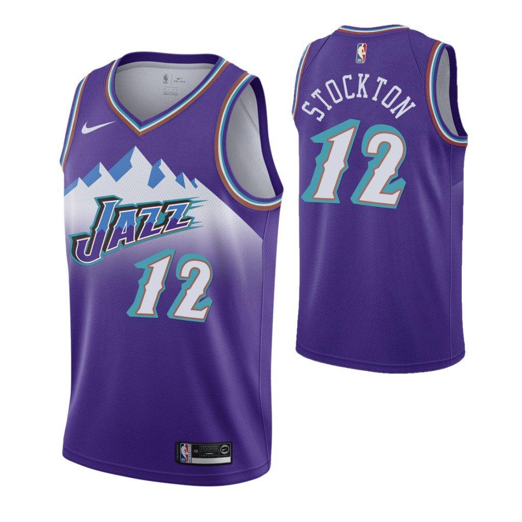 new product 5eb46 ed96e Men's Utah Jazz #12 John Stockton Purple 2019 Hardwood Classics Swingman  Jersey
