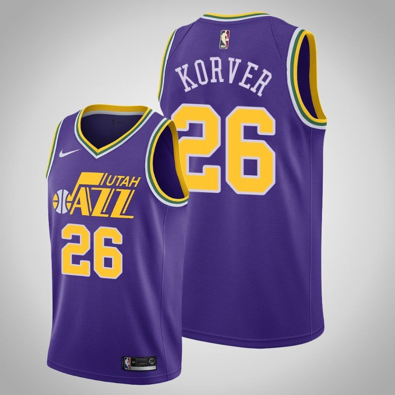 differently 023e4 dc281 Men's Utah Jazz #26 Kyle Korver Purple Classics basketball Jersey Stitched