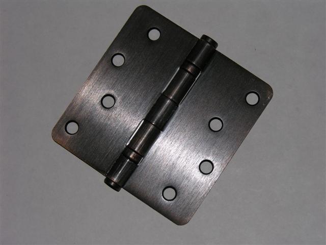 """Venetian Bronze 4""""x4"""" Ball Bearing Hinges with 1/4"""" radius corners"""
