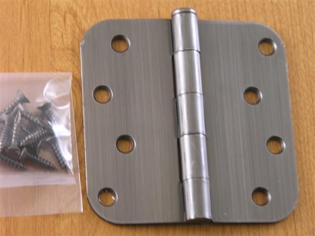 """4""""x4"""" Antique Pewter Door Hinges w/screws 5/8 radius"""