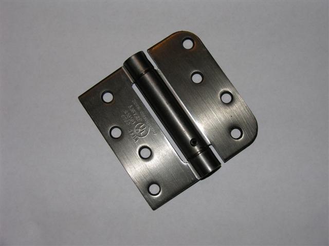 """4"""" Antique Pewter adjustable spring hinge Square x 5/8"""" radius corners"""