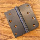 "Oil Rubbed Bronze 4""x4"" Door Hinges w/screws square x 5/8"" radius corners"