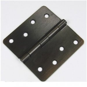 "Oil Rubbed Bronze 4"" Hinge with screws. 1/4"" radius US10B"