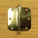 "Polished Solid Bright Brass with Ball tip pin 3 1/2"" Door Hinges 5/8"" radius corners"