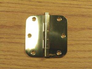 "Polished Solid Bright Brass 3 1/2"" Door Hinges 5/8"" radius corners"