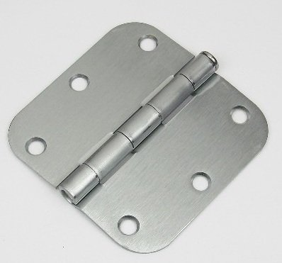 "3 1/2"" x 3 1/2"" Satin Chrome residential steel hinge with 5/8"" radius corners"