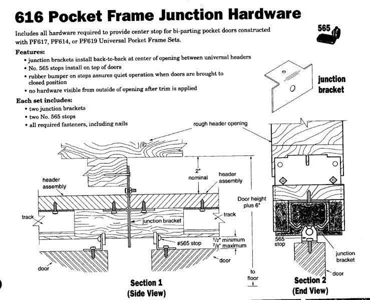 Hardware For Double Converging Pocket Doors : Converging double pocket door frame kit