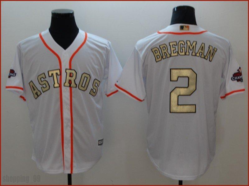 huge discount c0608 21d48 2 Alex Bregman Jersey Gold Edition Men Houston Astros