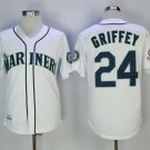Men's Seattle Mariners #24 Ken Griffey Jr. White 1995 Throwback Jerseys