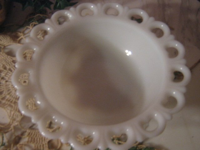 Vintage Milk Glass Scalloped Open work Bowl