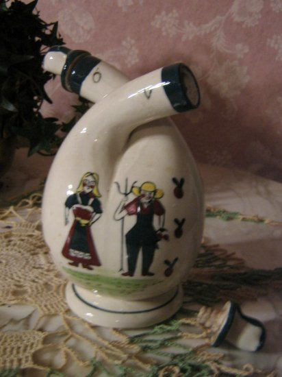 Unique Dutch? Wedding Pitcher ~ two spout Jug ~ folk art ~RARE