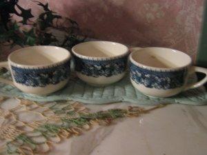3 .. Vintage Blue Onion coffee cups .. China ..Buffalo China