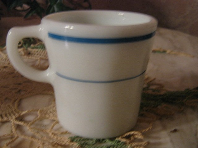 Vintage ~ Pyrex ~ Coffee Mug Cup ~ Aqua Blue Stripe
