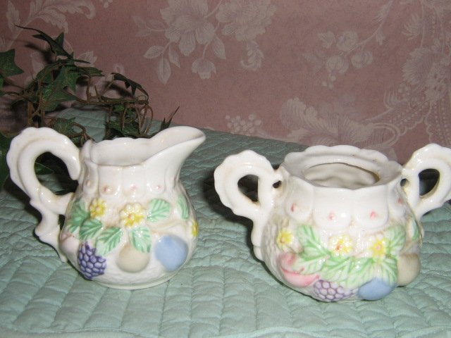 Vintage Cream & Sugar Set .. Raised Fruit .. porcelain
