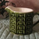 Vintage .. MIJ Green Creamer .. Unique Basketweave..green