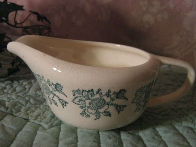 Vintage ~ Green Flower ~ long Creamer ~ porcelain