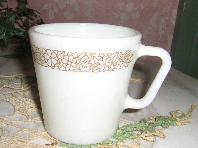 Vintage .. Woodland Brown Pattern .. PYREX .. Coffee Cup