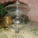 Etched Crystal .. Pedestal ..Covered Compote ..candy dish