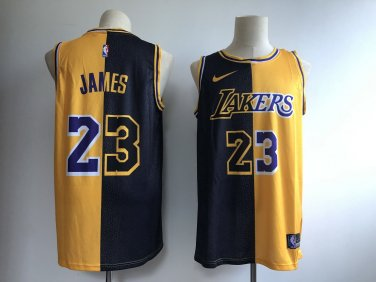 new arrivals 3ced4 0c5ed Mens Lakers #23 LeBron James Jersey Yellow-Black Split spliced NEW 2018-2019