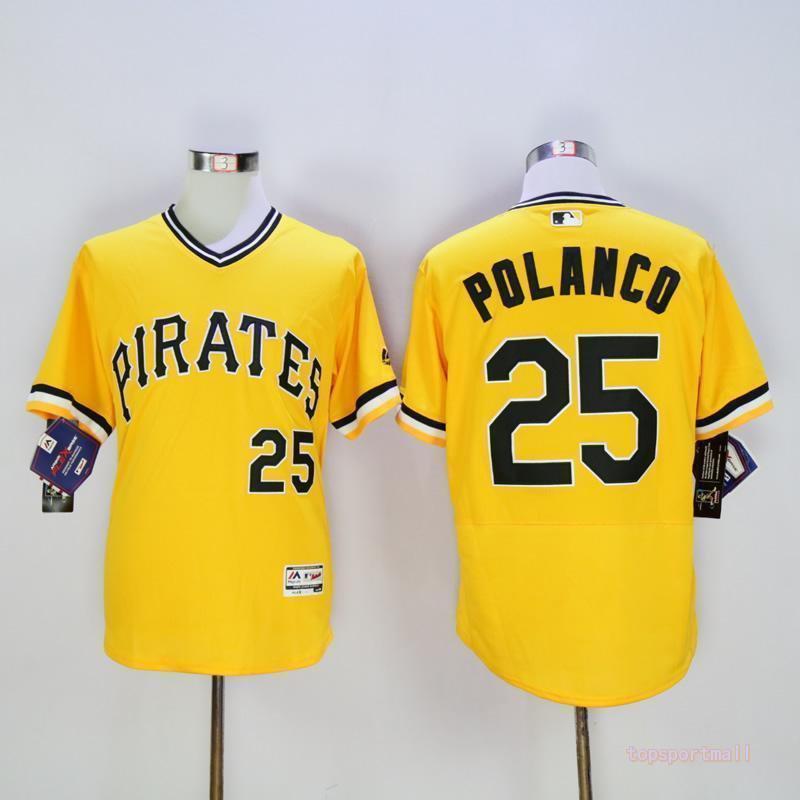 new york dc636 c0612 Pittsburgh Pirates 25 Gregory Polanco Yellow Pullover Flexbase Jersey  2018-2019