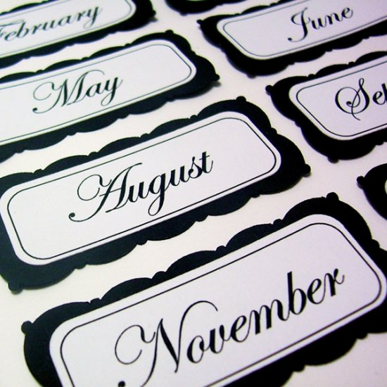 Months - Labels/Tags Scrapbooking