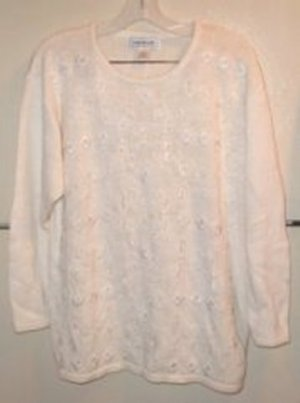 1970s Beaded White Pullover Sweater Size Large