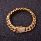 12mm Men Zircon Curb Cuban Link Bracelet Hip hop Jewelry Gold Silver Bangle