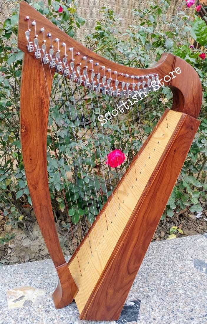 22 String Celtic Lever Harp With Free Extra String Set Tuning key Carry Bag