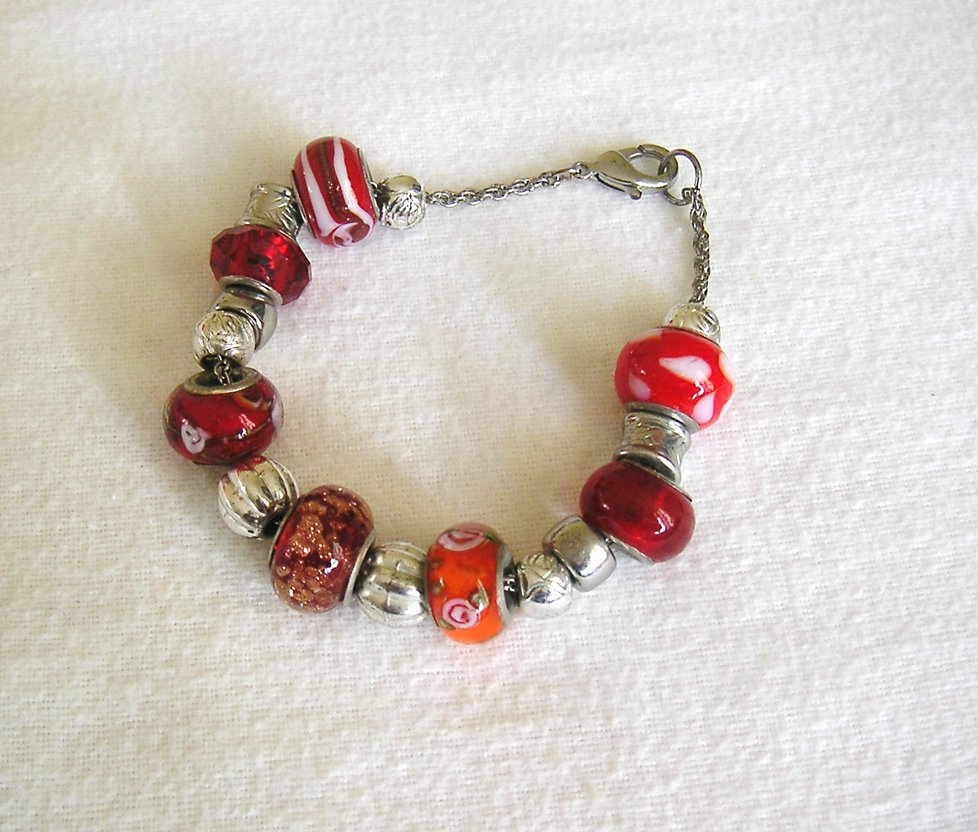 Silver Colour Red Orange Glass Bead Charm Bracelet