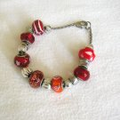 Silver Colour Red Orange Glass Bead Charm Bracelet