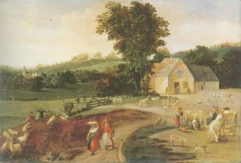 Jacob Grimmer - LANDSCAPE WITH PEASANTS
