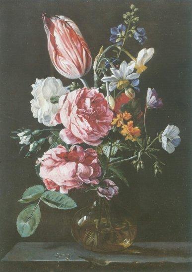 Jan van den hecke - ROSE , PARROT TULIP NARCISSI GLASS VAS ON STONE L