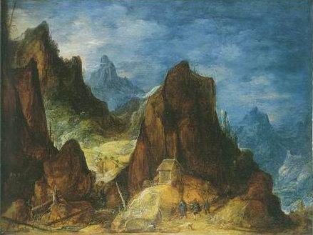 Joos De Momper -  MOUNTAINOUS SCENERY , TRAVELLERS NEAR A HUT