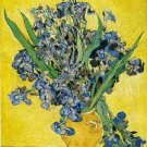 VASE WITH IRISES AGAINST A YELLOW BACKGROUND - Vincent Van Gogh paintings