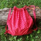 Beautiful women backpack. from cotton. Red backpack