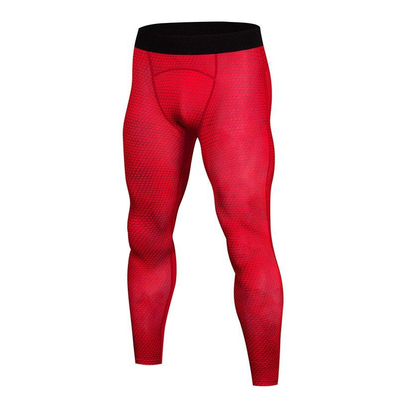 Men's Red compression pants leggings snake skin print