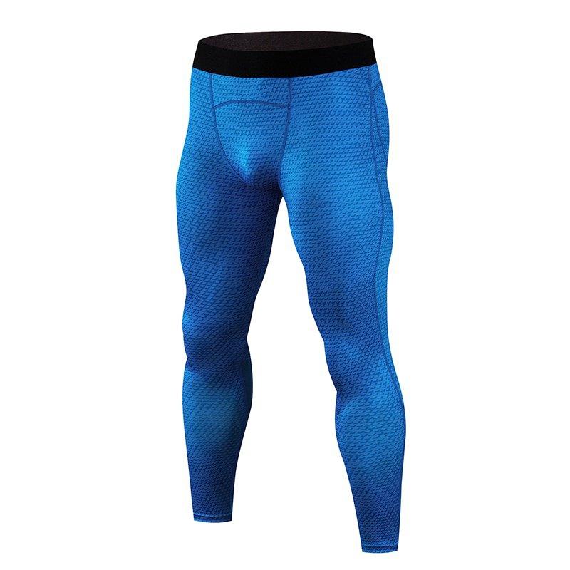 Men's Blue compression pants leggings snake skin print