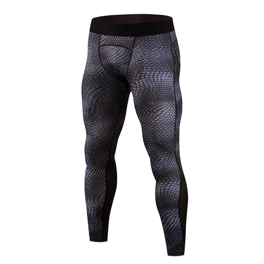 Men's Black compression pants leggings snake skin print