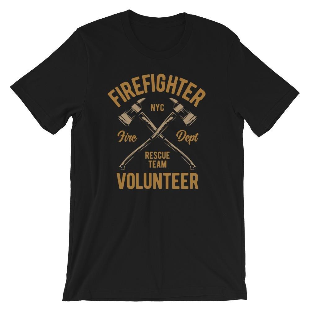Firefighter Volunteer Fire Axe Cross Graphic Men's T-shirt