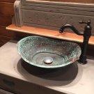 Rustic Aged Oxidized Green Patina Copper Bathroom Bathtub Sink Remodel Decor