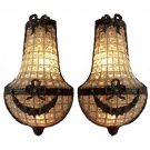 2 Antique Patina Replica Brass French Empire Crystal Basket Wall Sconces Lights