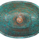 Green Patina Aged Rustic Oxidized Pure Copper Oval Bathroom Sink Remodel