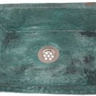Green Patina Aged Rustic Oxidized Pure Copper Rectangle Bathroom Sink Remodel