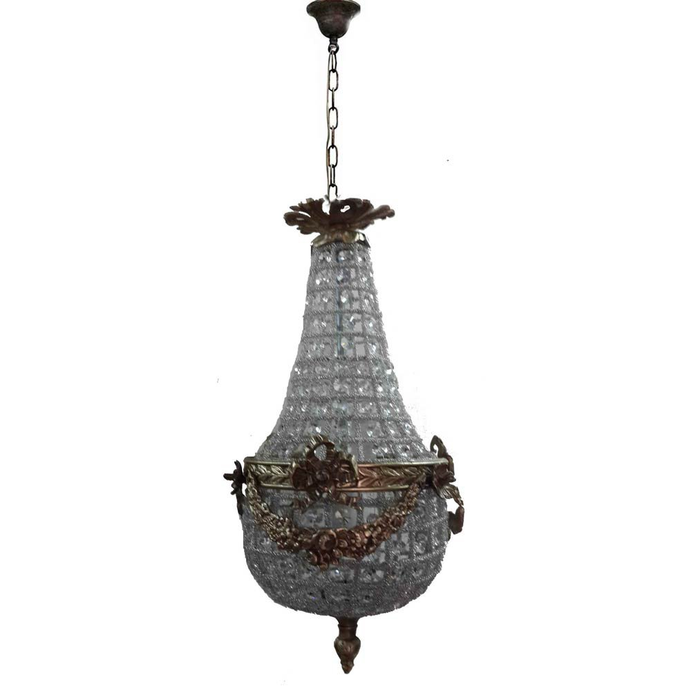 Petite French Empire Crystal Ornate Light Fixture Basket Ceiling Chandelier