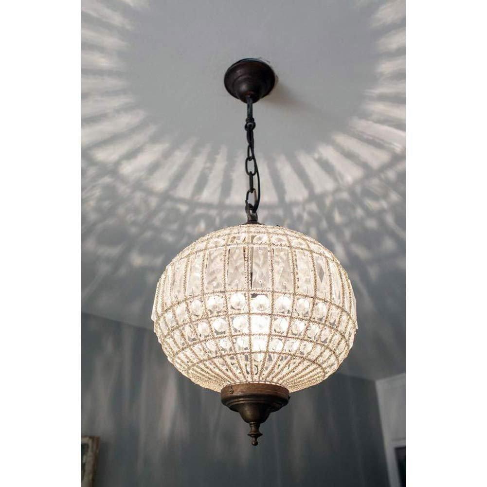 French Antique Globe Orbit Sphere Basket Crystal Ceiling Chandelier Lamp Replica